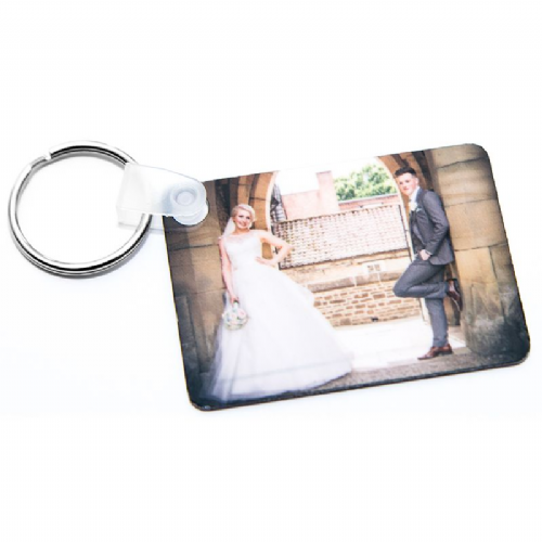 Double Sided Rectangle Metal Photo Keyring